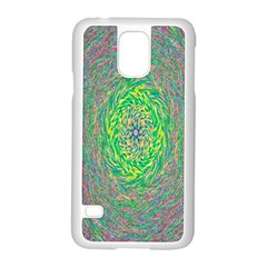 Abstraction Illusion Rotation Green Gray Samsung Galaxy S5 Case (white)