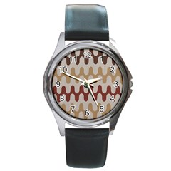 Bullard Line Fabric Chevron Wave Round Metal Watch