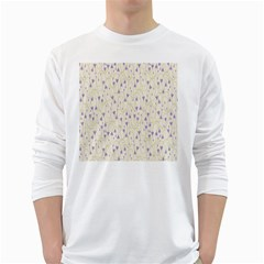 Flower Purple White Long Sleeve T Shirts