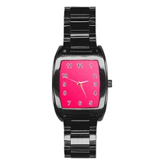 Pink Color Stainless Steel Barrel Watch
