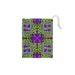 Paris Eiffel Tower Green Purple Drawstring Pouches (XS)