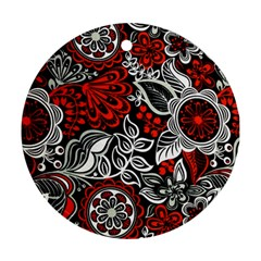 Red Batik Flower Round Ornament (two Sides)
