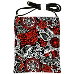 Red Batik Flower Shoulder Sling Bags