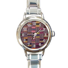 Strip Woven Cloth Color Round Italian Charm Watch