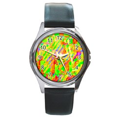 Cheerful Phantasmagoric Pattern Round Metal Watch