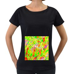 Cheerful Phantasmagoric Pattern Women s Loose Fit T Shirt (black)