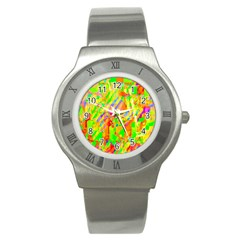 Cheerful Phantasmagoric Pattern Stainless Steel Watch