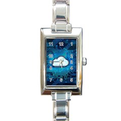 Circuit Computer Chip Cloud Security Rectangle Italian Charm Watch