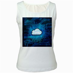Circuit Computer Chip Cloud Security Women s White Tank Top