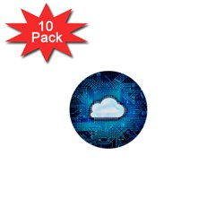 Circuit Computer Chip Cloud Security 1  Mini Buttons (10 pack)