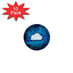Circuit Computer Chip Cloud Security 1  Mini Magnet (10 Pack)