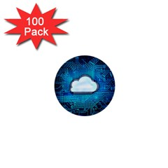 Circuit Computer Chip Cloud Security 1  Mini Buttons (100 Pack)
