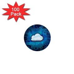 Circuit Computer Chip Cloud Security 1  Mini Magnets (100 Pack)