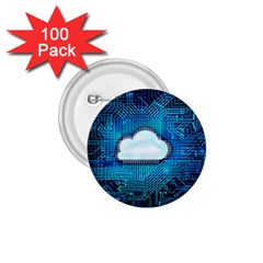 Circuit Computer Chip Cloud Security 1 75  Buttons (100 Pack)