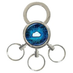 Circuit Computer Chip Cloud Security 3 Ring Key Chains