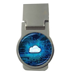 Circuit Computer Chip Cloud Security Money Clips (round)