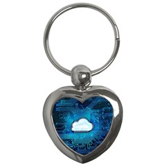 Circuit Computer Chip Cloud Security Key Chains (heart)