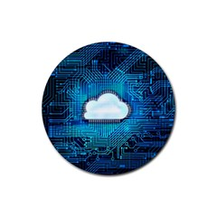 Circuit Computer Chip Cloud Security Rubber Round Coaster (4 Pack)