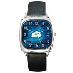 Circuit Computer Chip Cloud Security Square Metal Watch