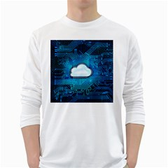 Circuit Computer Chip Cloud Security White Long Sleeve T Shirts