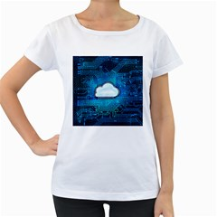 Circuit Computer Chip Cloud Security Women s Loose-Fit T-Shirt (White)