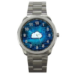 Circuit Computer Chip Cloud Security Sport Metal Watch