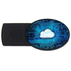 Circuit Computer Chip Cloud Security Usb Flash Drive Oval (4 Gb)
