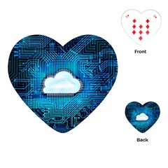 Circuit Computer Chip Cloud Security Playing Cards (heart)