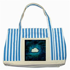Circuit Computer Chip Cloud Security Striped Blue Tote Bag
