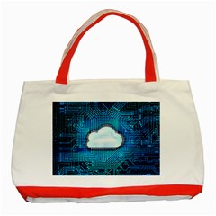 Circuit Computer Chip Cloud Security Classic Tote Bag (red)