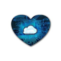 Circuit Computer Chip Cloud Security Rubber Coaster (heart)