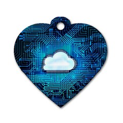 Circuit Computer Chip Cloud Security Dog Tag Heart (one Side)
