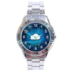 Circuit Computer Chip Cloud Security Stainless Steel Analogue Watch