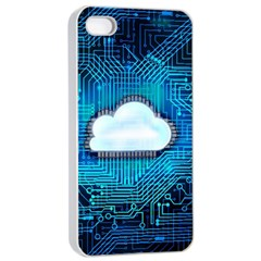Circuit Computer Chip Cloud Security Apple Iphone 4/4s Seamless Case (white)