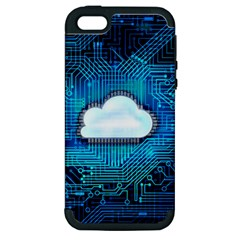 Circuit Computer Chip Cloud Security Apple Iphone 5 Hardshell Case (pc+silicone)