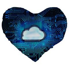 Circuit Computer Chip Cloud Security Large 19  Premium Heart Shape Cushions