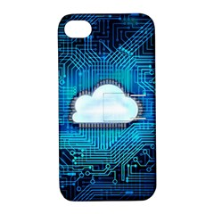 Circuit Computer Chip Cloud Security Apple Iphone 4/4s Hardshell Case With Stand