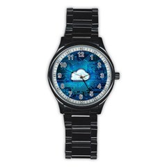 Circuit Computer Chip Cloud Security Stainless Steel Round Watch