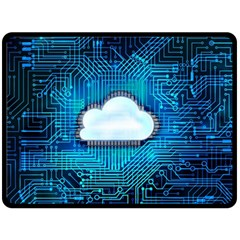 Circuit Computer Chip Cloud Security Double Sided Fleece Blanket (large)