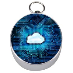 Circuit Computer Chip Cloud Security Silver Compasses