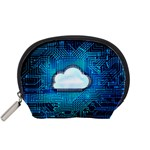 Circuit Computer Chip Cloud Security Accessory Pouches (Small)  Front