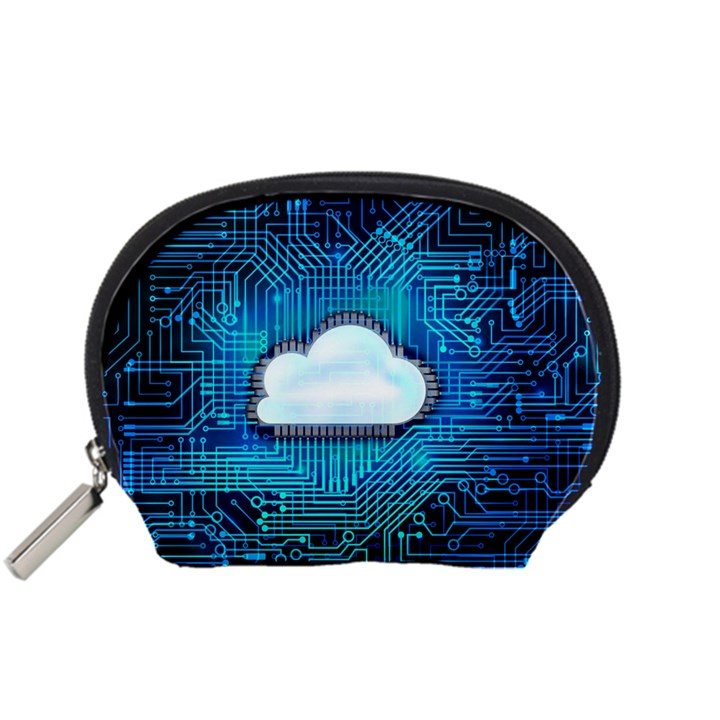 Circuit Computer Chip Cloud Security Accessory Pouches (Small)