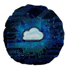 Circuit Computer Chip Cloud Security Large 18  Premium Flano Round Cushions