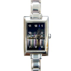 Cleveland Building City By Night Rectangle Italian Charm Watch