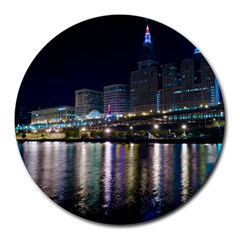 Cleveland Building City By Night Round Mousepads