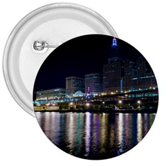 Cleveland Building City By Night 3  Buttons