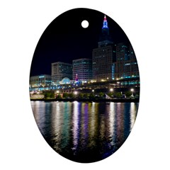 Cleveland Building City By Night Ornament (oval)