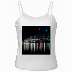 Cleveland Building City By Night White Spaghetti Tank