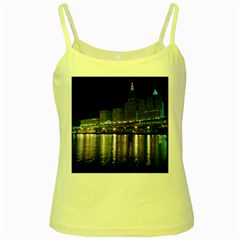 Cleveland Building City By Night Yellow Spaghetti Tank
