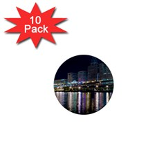 Cleveland Building City By Night 1  Mini Magnet (10 Pack)